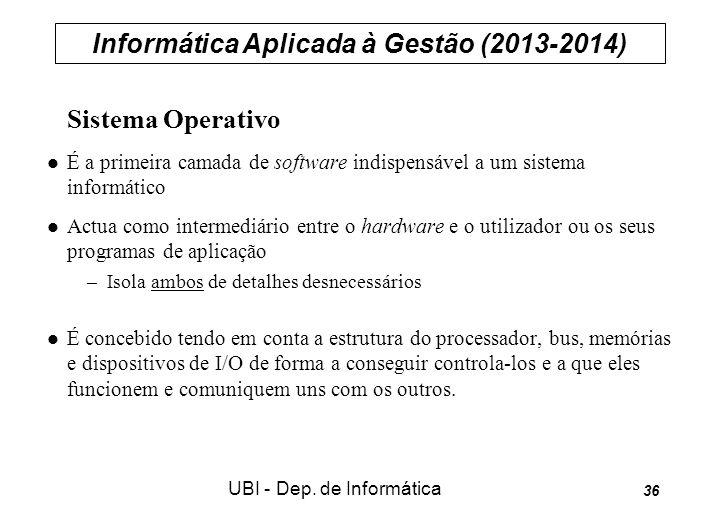 Informática Aplicada à Gestão (2013-2014) UBI - Dep. de Informática 36 Sistema Operativo É a primeira camada de software indispensável a um sistema in