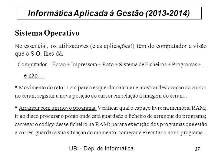 Informática Aplicada à Gestão (2013-2014) UBI - Dep. de Informática 37 Sistema Operativo No essencial, os utilizadores (e as aplicações!) têm do compu