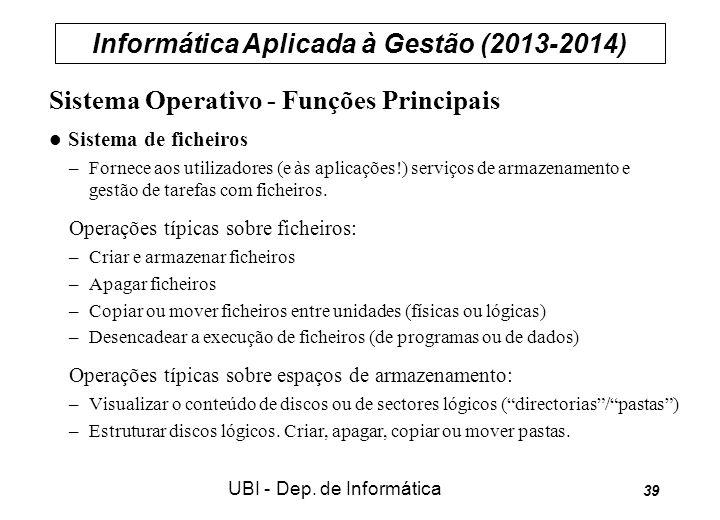 Informática Aplicada à Gestão (2013-2014) UBI - Dep. de Informática 39 Sistema Operativo - Funções Principais Sistema de ficheiros –Fornece aos utiliz