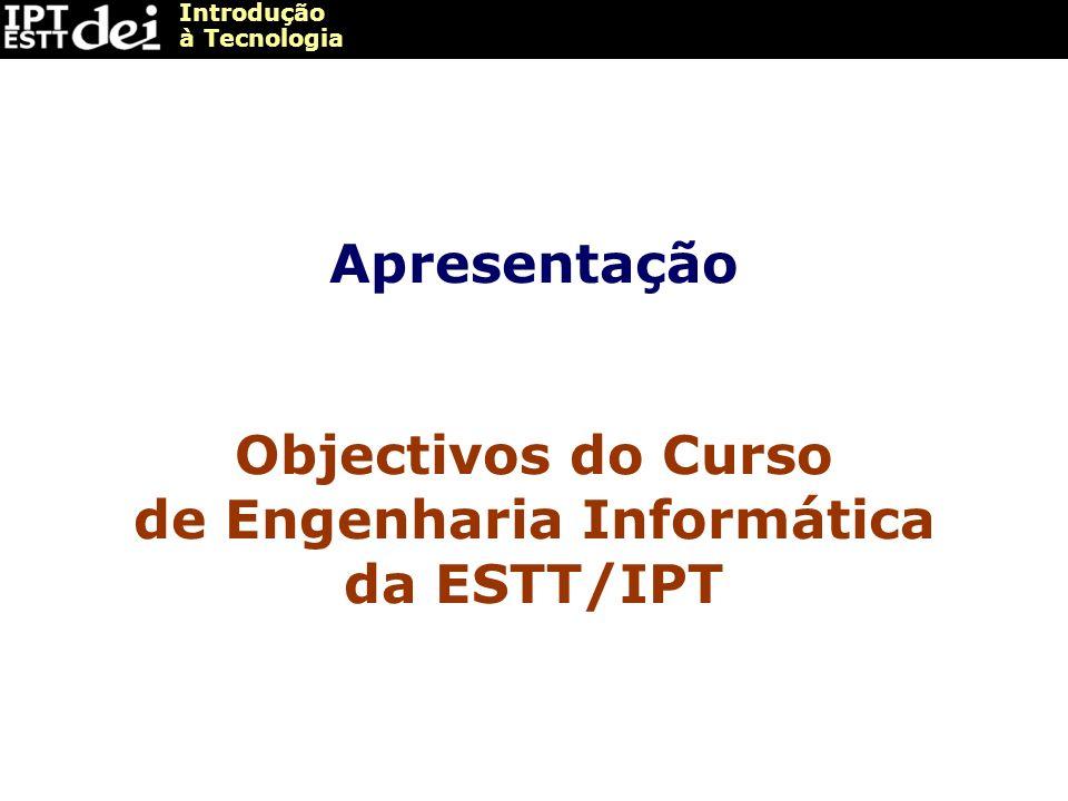 Introdução à Tecnologia Apresentação Objectivos do Curso de Engenharia Informática da ESTT/IPT