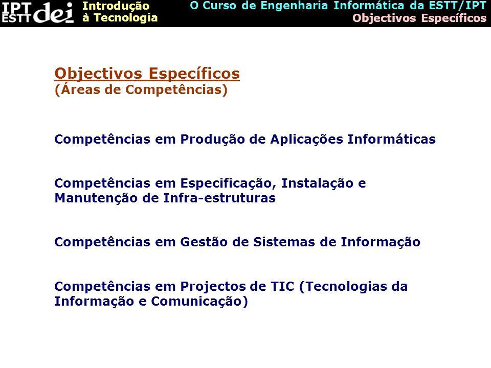 Introdução à Tecnologia O Curso de Engenharia Informática da ESTT/IPT Competências Desenvolvimento de Relatórios de Análise dos Requisitos e das Soluções; Modelação de Dados e de Interfaces com os Utilizadores; Modelação dos Objectos que implementam os Requisitos e as Soluções; Definição da Estrutura das diferentes Camadas Aplicacionais de um Sistema e respectivos Subsistemas; Concepção, Desenvolvimento, Teste e Implementação de Software para novas Aplicações; Concepção, Desenvolvimento, Teste e Implementação de Middleware para Integração entre Subsistemas.