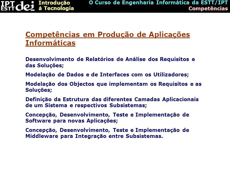 Introdução à Tecnologia O Curso de Engenharia Informática da ESTT/IPT Competências Desenvolvimento de Relatórios de Análise dos Requisitos e das Soluç