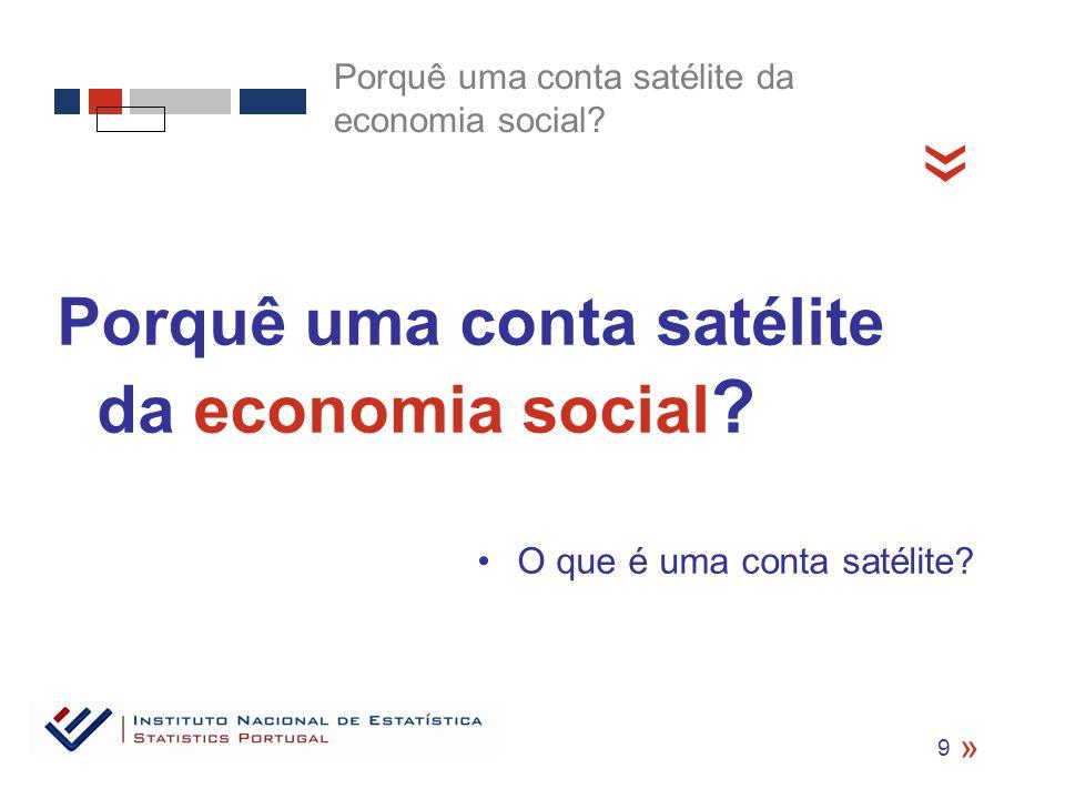 Porquê uma conta satélite da economia social .O que é uma conta satélite.