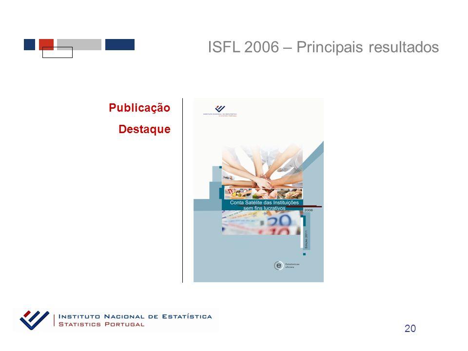 ISFL 2006 – Principais resultados Publicação Destaque 20