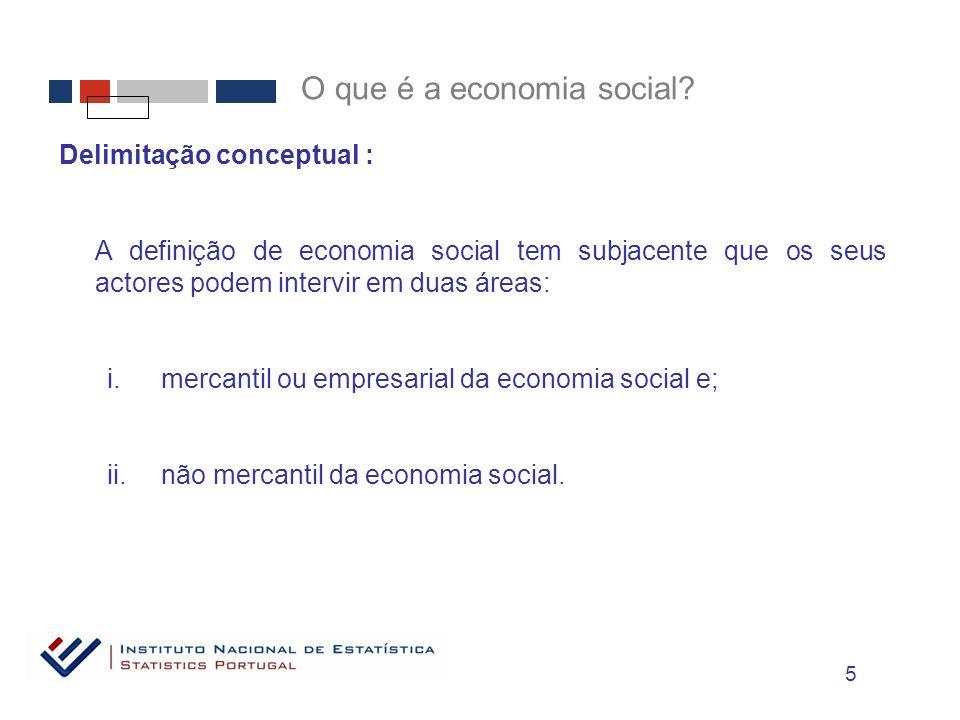 Delimitação conceptual : A definição de economia social tem subjacente que os seus actores podem intervir em duas áreas: i.mercantil ou empresarial da economia social e; ii.não mercantil da economia social.