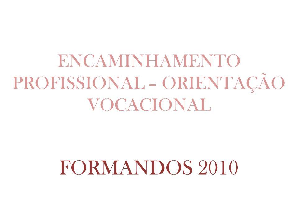 ENCAMINHAMENTO PROFISSIONAL – ORIENTAÇÃO VOCACIONAL FORMANDOS 2010
