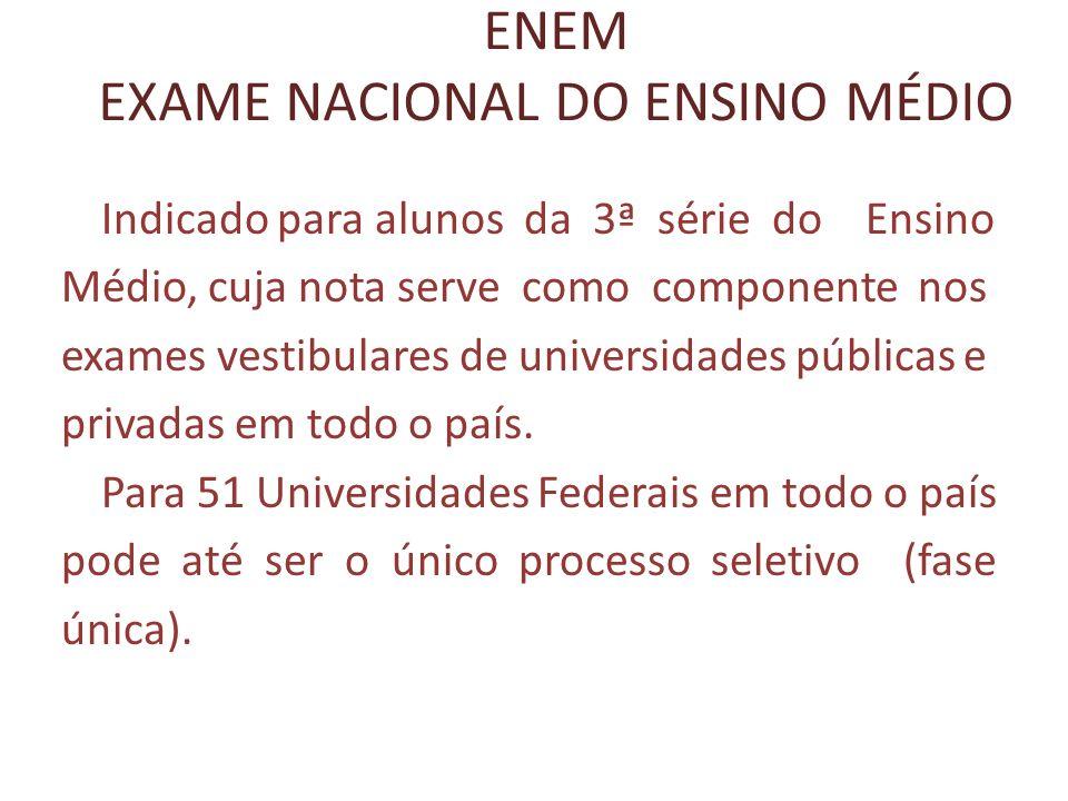 ENEM EXAME NACIONAL DO ENSINO MÉDIO Indicado para alunos da 3ª série do Ensino Médio, cuja nota serve como componente nos exames vestibulares de unive