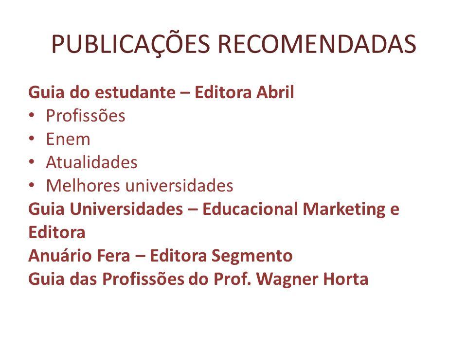 PUBLICAÇÕES RECOMENDADAS Guia do estudante – Editora Abril Profissões Enem Atualidades Melhores universidades Guia Universidades – Educacional Marketi