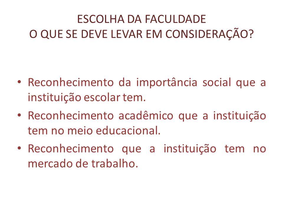 ESCOLHA DA FACULDADE O QUE SE DEVE LEVAR EM CONSIDERAÇÃO? Reconhecimento da importância social que a instituição escolar tem. Reconhecimento acadêmico