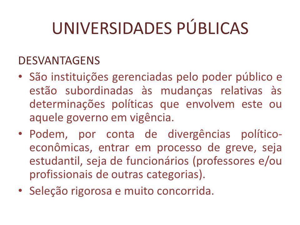 UNIVERSIDADES PÚBLICAS DESVANTAGENS São instituições gerenciadas pelo poder público e estão subordinadas às mudanças relativas às determinações políti