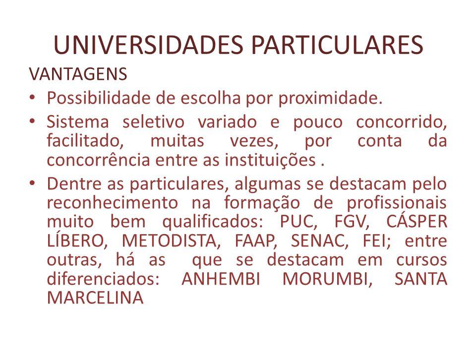 UNIVERSIDADES PARTICULARES VANTAGENS Possibilidade de escolha por proximidade. Sistema seletivo variado e pouco concorrido, facilitado, muitas vezes,