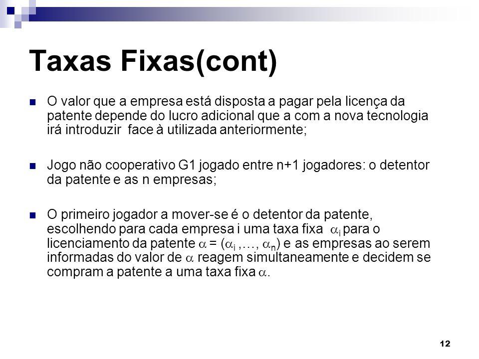 12 Taxas Fixas(cont) O valor que a empresa está disposta a pagar pela licença da patente depende do lucro adicional que a com a nova tecnologia irá in