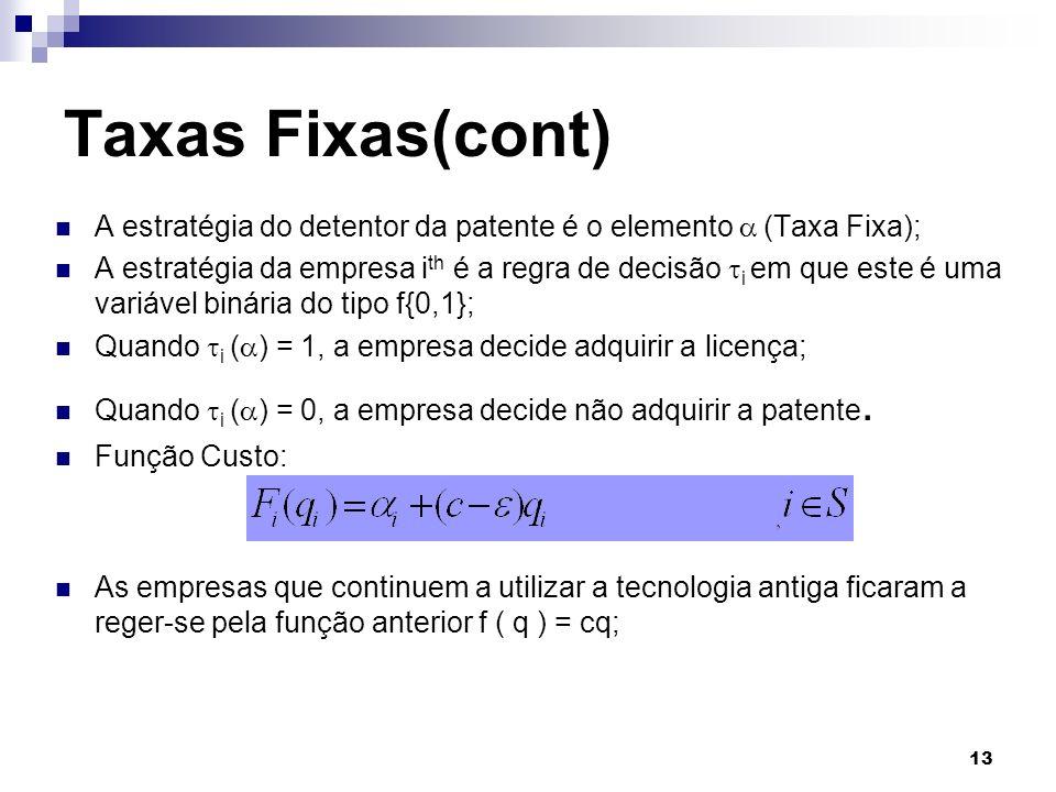 13 A estratégia do detentor da patente é o elemento (Taxa Fixa); A estratégia da empresa i th é a regra de decisão i em que este é uma variável binári