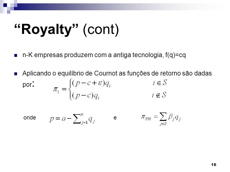 16 n-K empresas produzem com a antiga tecnologia, f(q)=cq Aplicando o equilíbrio de Cournot as funções de retorno são dadas por : Royalty (cont) ondee