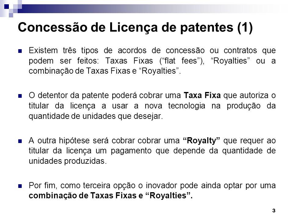 14 Assumindo que o output da indústria está num equilíbrio de Cournot verifica-se que a produção de nível q i por cada empresa i é determinado por (, 1,…, n ) e o seu lucro por: Taxas Fixas(cont) onde : e O lucro do detentor da patente é: