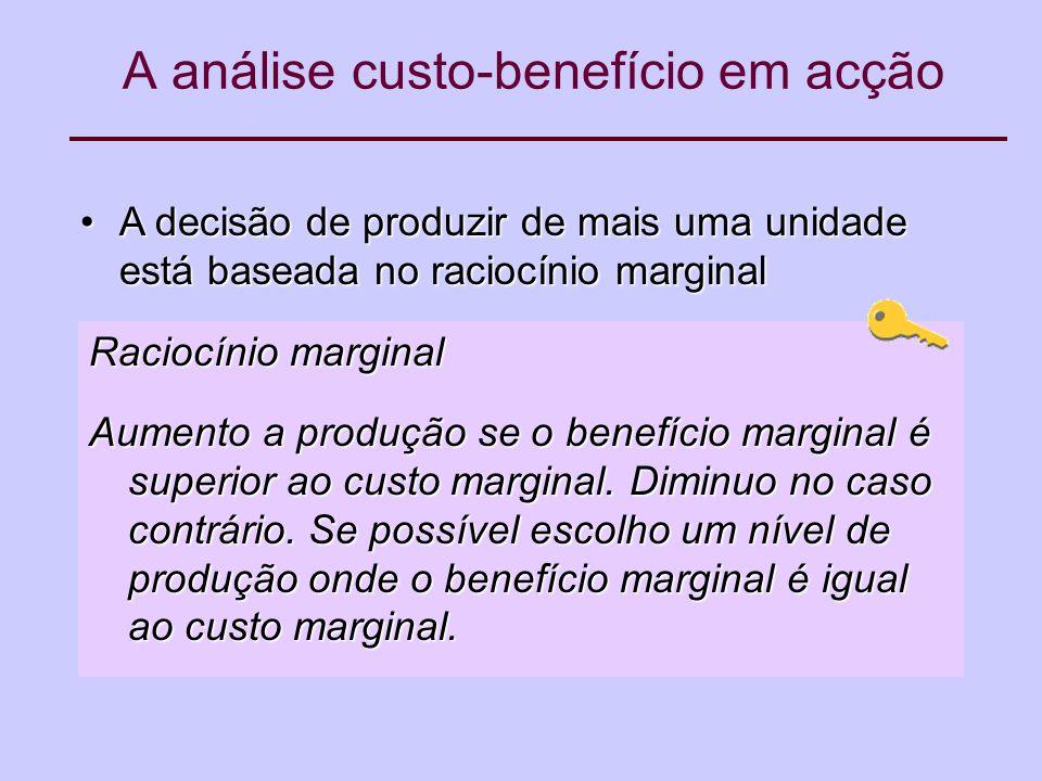 A análise custo-benefício em acção A decisão de produzir de mais uma unidade está baseada no raciocínio marginalA decisão de produzir de mais uma unidade está baseada no raciocínio marginal Raciocínio marginal Aumento a produção se o benefício marginal é superior ao custo marginal.