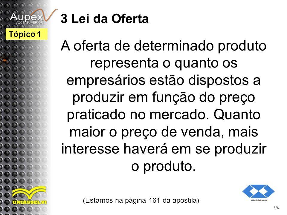 3 Lei da Oferta A oferta de determinado produto representa o quanto os empresários estão dispostos a produzir em função do preço praticado no mercado.