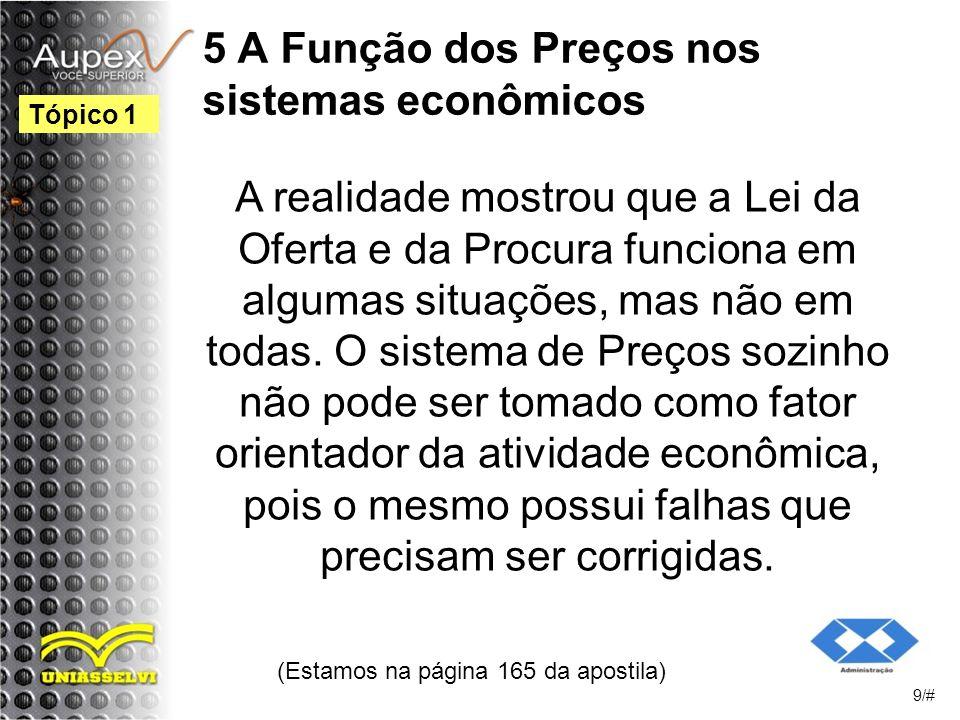 5 A Função dos Preços nos sistemas econômicos A realidade mostrou que a Lei da Oferta e da Procura funciona em algumas situações, mas não em todas.