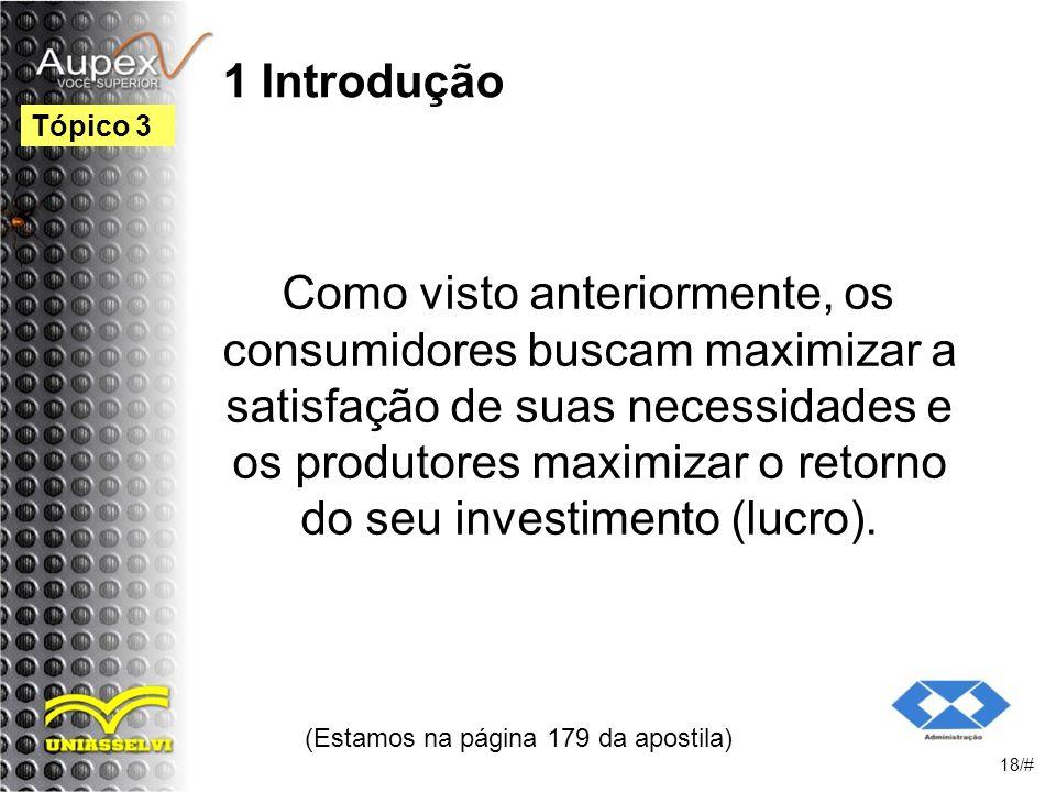 1 Introdução Como visto anteriormente, os consumidores buscam maximizar a satisfação de suas necessidades e os produtores maximizar o retorno do seu investimento (lucro).