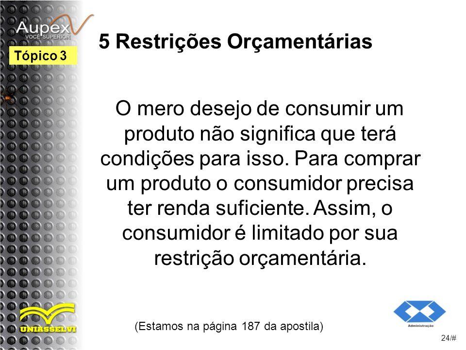 5 Restrições Orçamentárias O mero desejo de consumir um produto não significa que terá condições para isso.