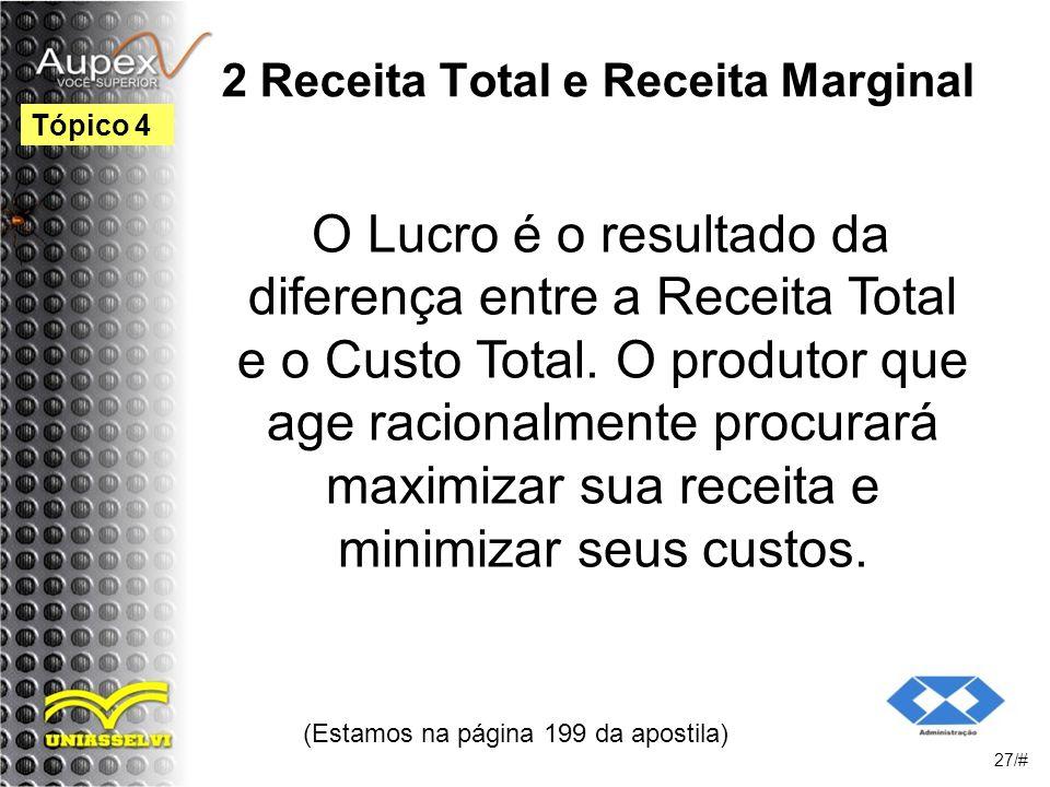 2 Receita Total e Receita Marginal O Lucro é o resultado da diferença entre a Receita Total e o Custo Total.