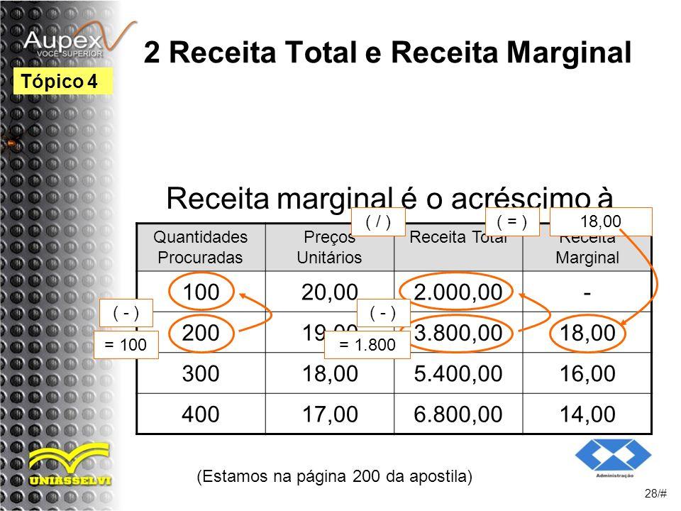 2 Receita Total e Receita Marginal Receita marginal é o acréscimo à receita total provocada pela última mercadoria vendida.