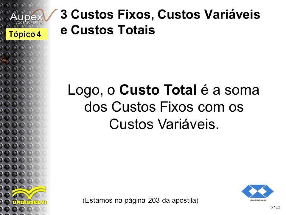3 Custos Fixos, Custos Variáveis e Custos Totais Logo, o Custo Total é a soma dos Custos Fixos com os Custos Variáveis.