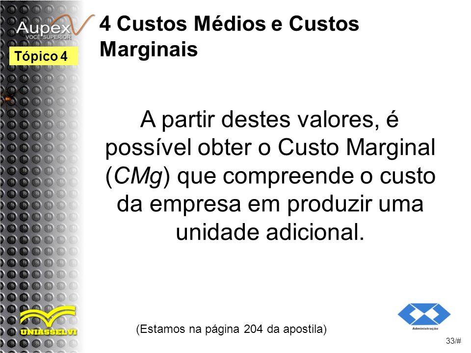 4 Custos Médios e Custos Marginais A partir destes valores, é possível obter o Custo Marginal (CMg) que compreende o custo da empresa em produzir uma unidade adicional.