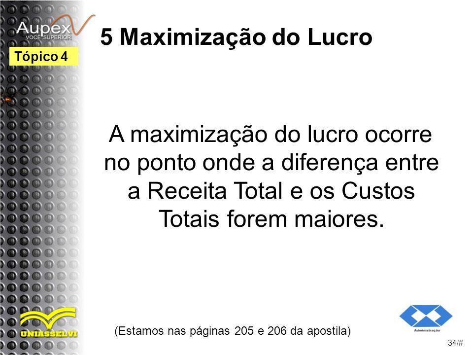 5 Maximização do Lucro A maximização do lucro ocorre no ponto onde a diferença entre a Receita Total e os Custos Totais forem maiores.
