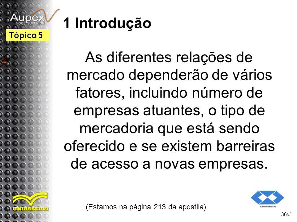 1 Introdução As diferentes relações de mercado dependerão de vários fatores, incluindo número de empresas atuantes, o tipo de mercadoria que está sendo oferecido e se existem barreiras de acesso a novas empresas.