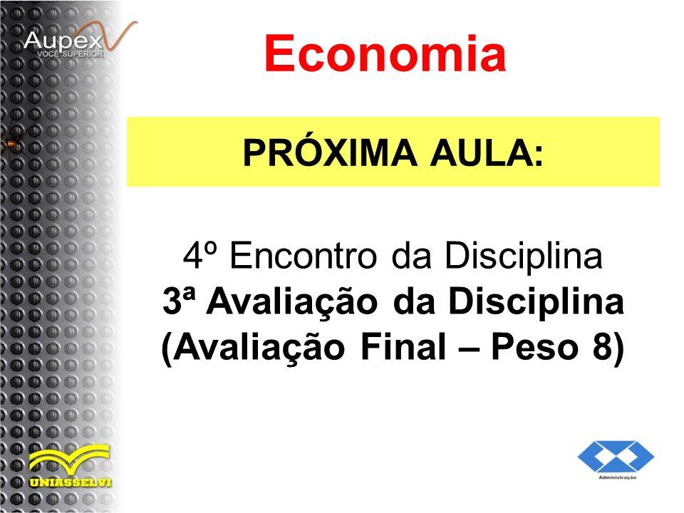 PRÓXIMA AULA: Economia 4º Encontro da Disciplina 3ª Avaliação da Disciplina (Avaliação Final – Peso 8)