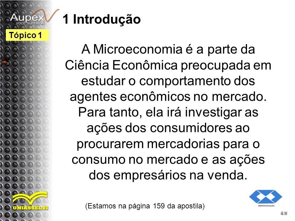1 Introdução A Microeconomia é a parte da Ciência Econômica preocupada em estudar o comportamento dos agentes econômicos no mercado.