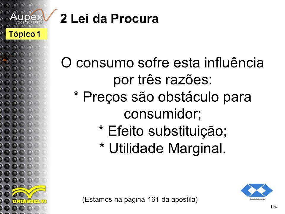 2 Lei da Procura O consumo sofre esta influência por três razões: * Preços são obstáculo para consumidor; * Efeito substituição; * Utilidade Marginal.
