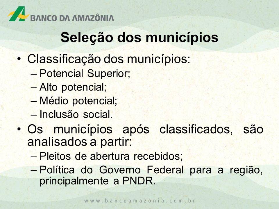 Classificação dos municípios: –Potencial Superior; –Alto potencial; –Médio potencial; –Inclusão social. Os municípios após classificados, são analisad