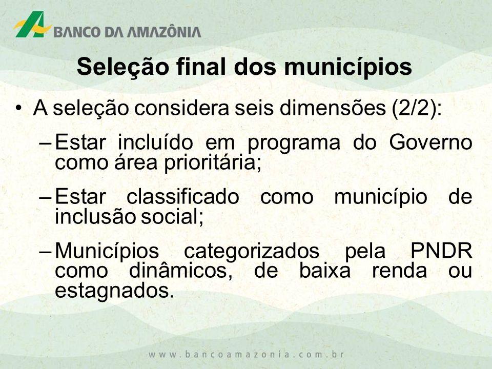 A seleção considera seis dimensões (2/2): –Estar incluído em programa do Governo como área prioritária; –Estar classificado como município de inclusão