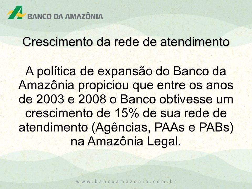 A política de expansão do Banco da Amazônia propiciou que entre os anos de 2003 e 2008 o Banco obtivesse um crescimento de 15% de sua rede de atendime
