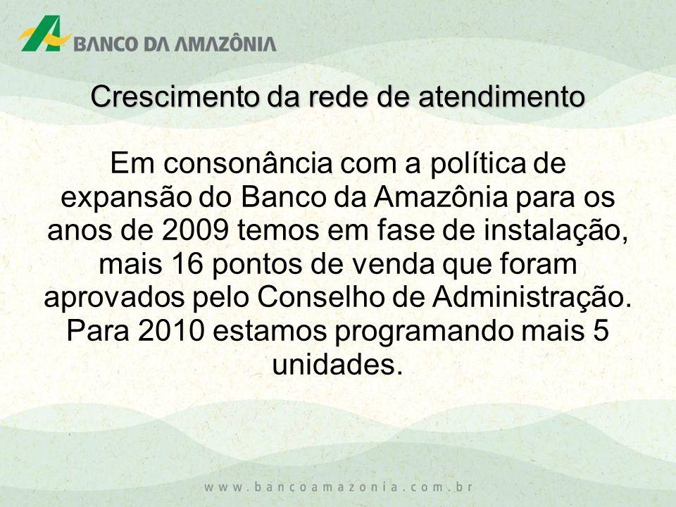 Em consonância com a política de expansão do Banco da Amazônia para os anos de 2009 temos em fase de instalação, mais 16 pontos de venda que foram apr