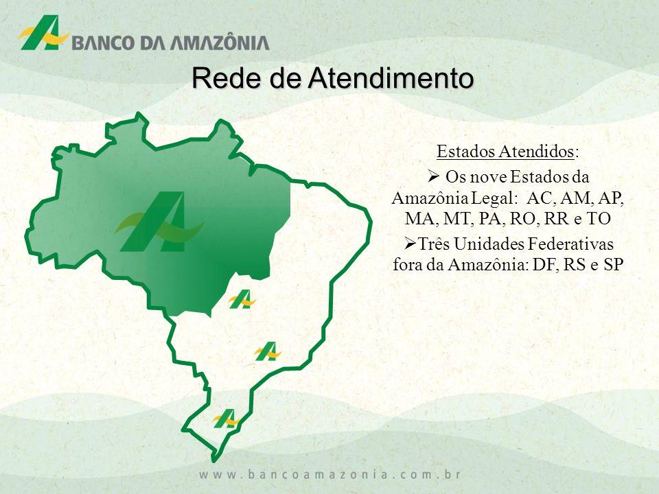 Rede de Atendimento Estados Atendidos: Os nove Estados da Amazônia Legal: AC, AM, AP, MA, MT, PA, RO, RR e TO Três Unidades Federativas fora da Amazôn