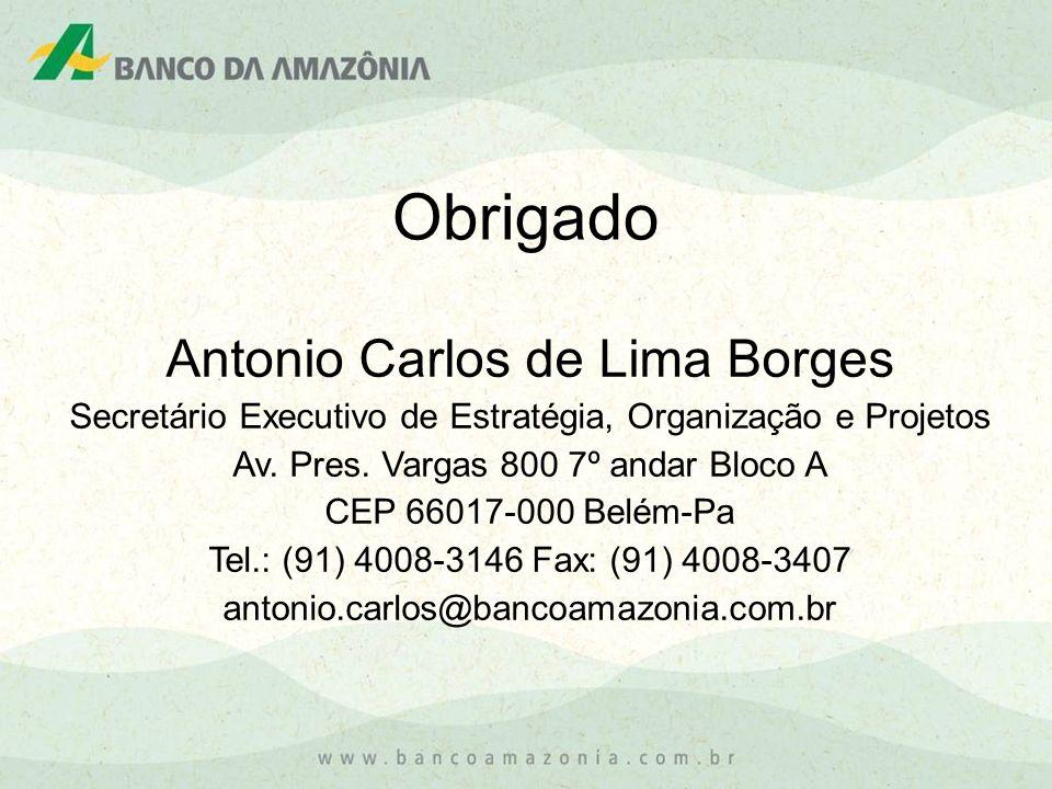 Obrigado Antonio Carlos de Lima Borges Secretário Executivo de Estratégia, Organização e Projetos Av. Pres. Vargas 800 7º andar Bloco A CEP 66017-000