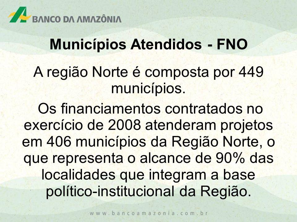 Municípios Atendidos - FNO A região Norte é composta por 449 municípios. Os financiamentos contratados no exercício de 2008 atenderam projetos em 406