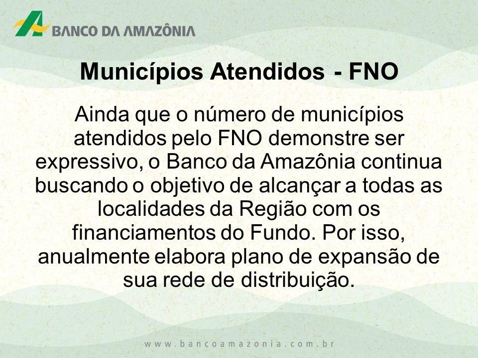 Municípios Atendidos - FNO Ainda que o número de municípios atendidos pelo FNO demonstre ser expressivo, o Banco da Amazônia continua buscando o objet