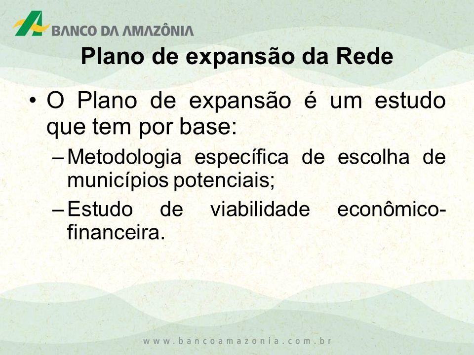 Plano de expansão da Rede O Plano de expansão é um estudo que tem por base: –Metodologia específica de escolha de municípios potenciais; –Estudo de vi