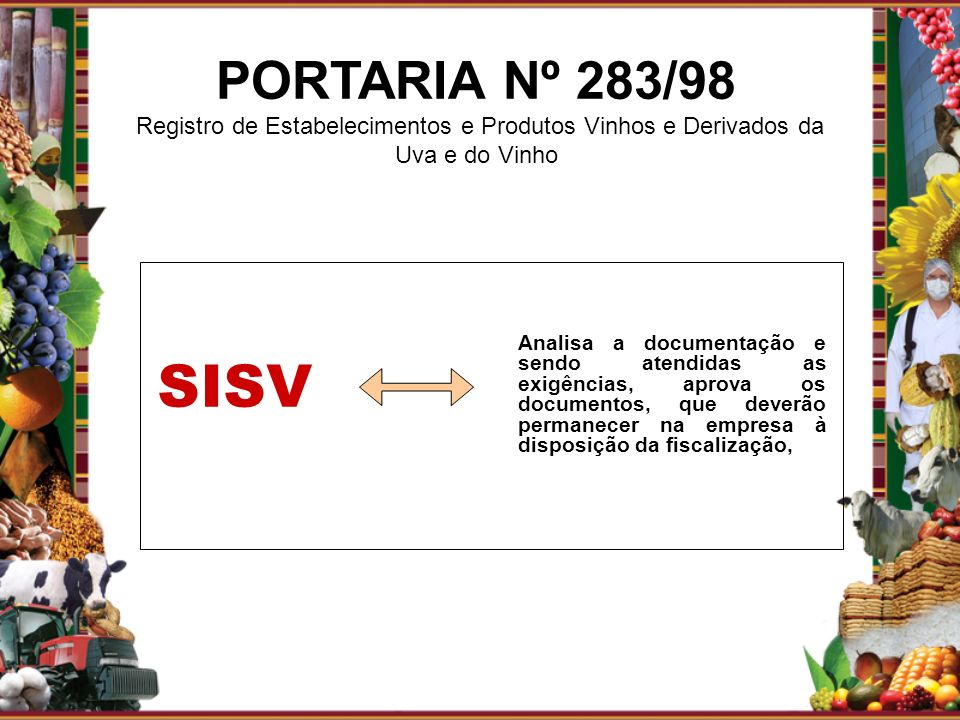 Analisa a documentação e sendo atendidas as exigências, aprova os documentos, que deverão permanecer na empresa à disposição da fiscalização, SISV POR