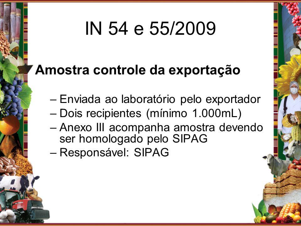 Amostra controle da exportação –Enviada ao laboratório pelo exportador –Dois recipientes (mínimo 1.000mL) –Anexo III acompanha amostra devendo ser hom