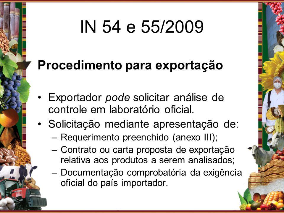 Procedimento para exportação Exportador pode solicitar análise de controle em laboratório oficial. Solicitação mediante apresentação de: –Requerimento