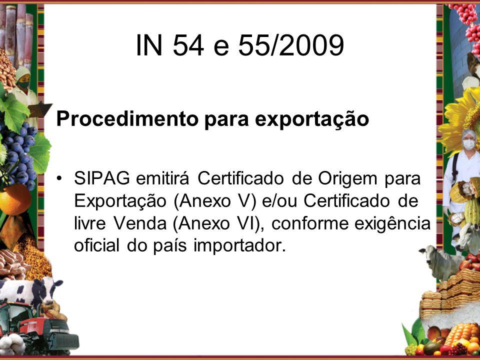 Procedimento para exportação SIPAG emitirá Certificado de Origem para Exportação (Anexo V) e/ou Certificado de livre Venda (Anexo VI), conforme exigên