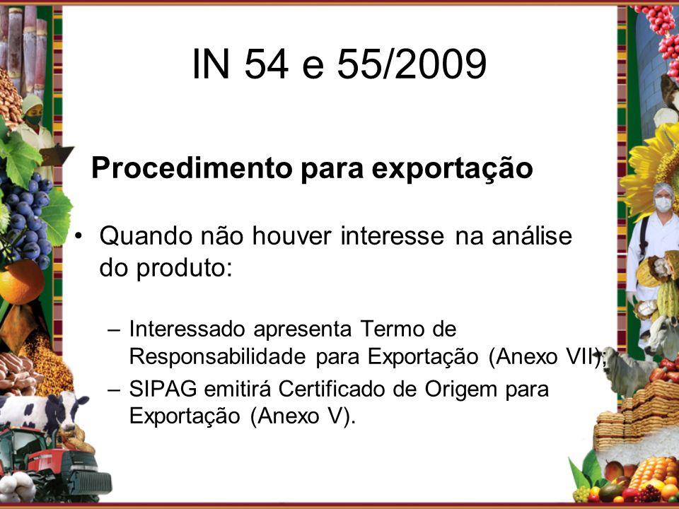 Procedimento para exportação Quando não houver interesse na análise do produto: –Interessado apresenta Termo de Responsabilidade para Exportação (Anex