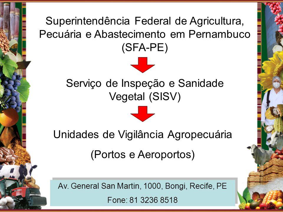 Superintendência Federal de Agricultura, Pecuária e Abastecimento em Pernambuco (SFA-PE) Serviço de Inspeção e Sanidade Vegetal (SISV) Av. General San