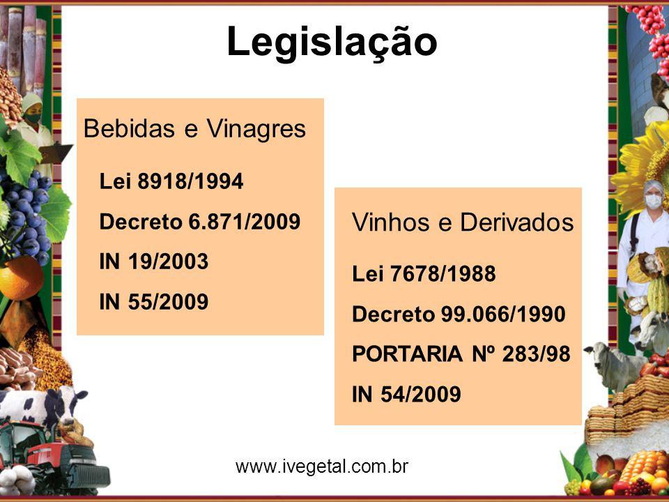 Legislação Bebidas e Vinagres Lei 8918/1994 Decreto 6.871/2009 IN 19/2003 IN 55/2009 Vinhos e Derivados Lei 7678/1988 Decreto 99.066/1990 PORTARIA Nº