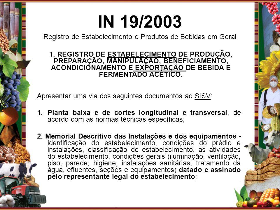 IN 19/2003 Registro de Estabelecimento e Produtos de Bebidas em Geral Apresentar uma via dos seguintes documentos ao SISV: 1.Planta baixa e de cortes